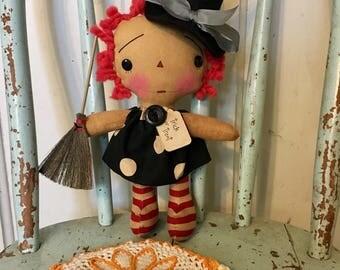 Tiny Raggedy Annie witch - Raggedy Ann doll - Witch Doll - Halloween Doll - Ragdolls - Raggedy Annie - Witches -