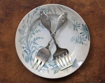 Swedish Fish Forks, Swedish Silver Fish Serving Set, Herring Serving Set, Fish Shaped Flatware, Fish Utensils, Herring Forks, Coastal Living