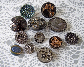 Vintage Black Glass Buttons Lot with Iridescent Silver & Gold Painted Accents