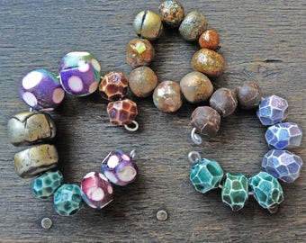Polymer clay art beads, handmade jewelry supplies by fancifuldevices