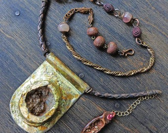 """Rustic geode druzy artisan necklace by fancifuldevices- """"What You Are Seeking"""""""