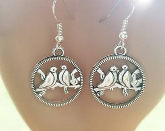 silver love birds earrings hoop earrings simple charm earrings dangles handmade animal jewelry