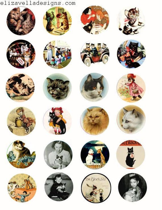 kitty cats people digital download COLLAGe sheet 1.5 inch circles image graphics CLIPART vintage art photographs craft papers printables