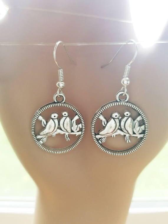 love birds earrings silver hoop earrings simple animal charm earrings dangles handmade animal jewelry