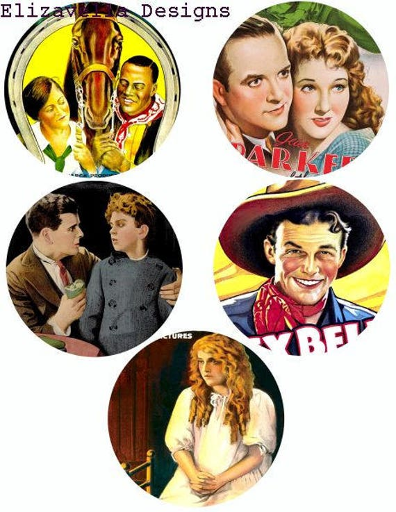 old antique vintage movie posters clipart digital download collage sheet graphics 3.8 inch circles printable vintage theater art images