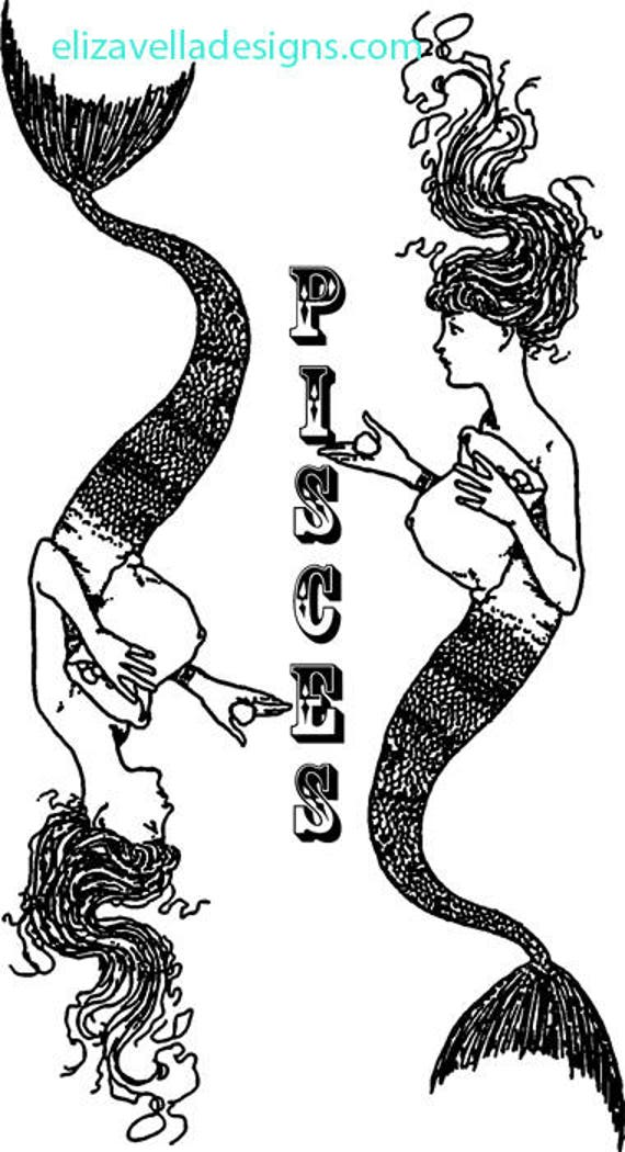 pisces zodiac mermaids clipart png image digital art download Digital stamp printable wall art fantasy graphics commercial use