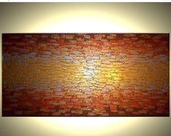 ORIGINAL Gold Painting, Abstract Palette Knife Art, Contemporary Impasto, Metallic Texture Art Lafferty - 48x24, Sale 22% Off