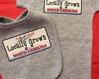 Locally Grown Bodysuit, baby bodysuit, Baby Bib Set, Bib Gift Set, North Carolina Gift,