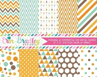 80% OFF SALE Digital Paper Pack Aqua Blue Orange Brown Polka Dots Chevron Stripes Triangles & Arrows Instant Download