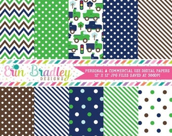 80% OFF SALE Boys Car Digital Paper Pack Transportation Printable Papers with Chevron Stripes & Polka Dots