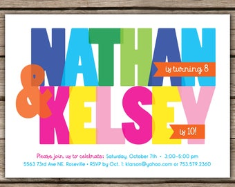 Colorful Joint Birthday Party - Custom digital or printed Birthday Party Invitation
