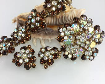 Chocolate Rhinestone Bracelet, Juliana, Delizza and Elster, Earrings, Brooch, Book Piece, Collecter Set Jewelry, Vintage 1960s Jewelry