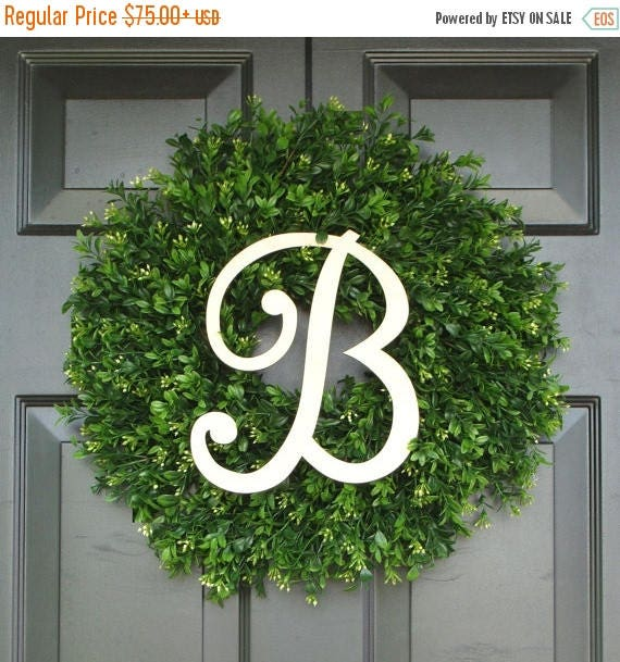 SUMMER WREATH SALE Monogram Boxwood Wreath, Monogram Wreath, Outdoor Decor, Fall Wreath, Etsy Wreath, Thin Wreath for Storm Door, 20 Inch Sh