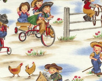 Children's Fabric, Lil Cowgirls Cotton Western Fabric by Michael Miller