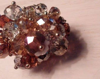 Vintage glass bead adjustable ring Ambers and Clear
