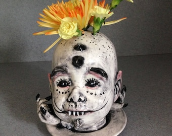 Halloween Creature from the Underworld, Flower Fog, Creepy head, Doll Face altered  walking dead