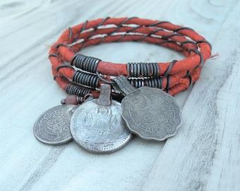 Silk Road 3 Piece Bangle Stack, Silk Wrapped, Stacking Bracelets, Tribal Gypsy Jewelry, Burnt Orange Bracelets
