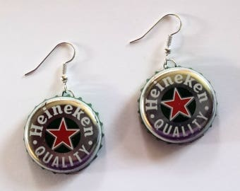 Heineken Beer Bottle Cap Earrings Jewelry