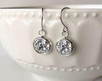 Faux Druzy 10mm, Silver Druzy Drop Earring, Silver Druzy Earring, Silver Drop Earring