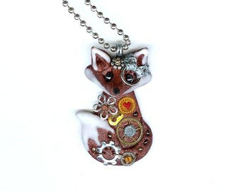 Steampunk Fox Necklace Polymer Clay Jewelry