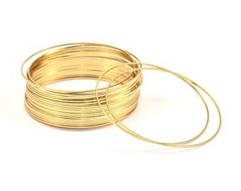 60mm Gold Plated Circles, 8 Gold Plated Brass Circle Connectors (60mm) Bs-1112