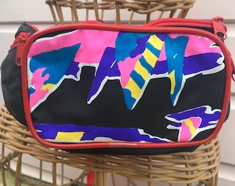 Vintage 1990's rave party bum bag fanny pack black with red trim neon graphic motif holidays travel pink wallet brand new jogging running