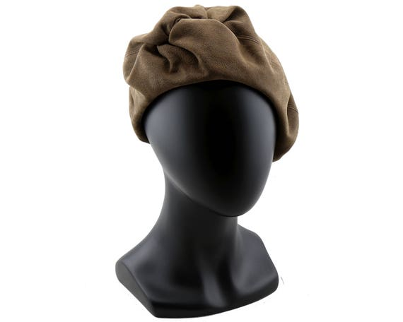 Brown Suede Beret Hat Fall Fashion Slouchy Leather Beret Draped Beret Twist Beret 1920s Beret Hat 1930s Beret Hat Designer Beret Black Beret