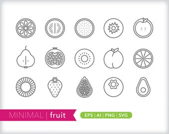 Minimal fruit line icons | EPS AI PNG | Geometric Food Clipart Design Elements Digital Download