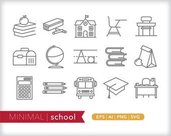 Minimal school line icons | EPS AI PNG | Geometric Education Clipart Design Elements Digital Download