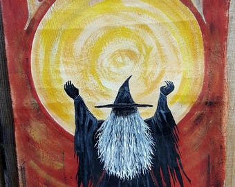 Hand Painted Just For You ...FULL MOON Witch on Handpainted Banner...Unique Halloween Decor