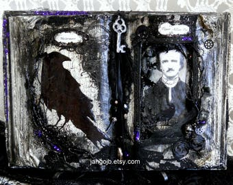 Made To Order-Edgar Allan Poe Themed Restyled Book Halloween Decor