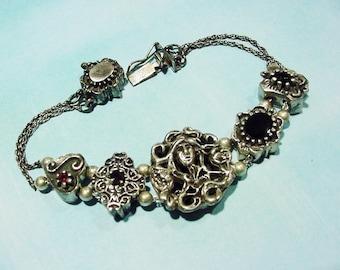 Vintage Hughes Victorian Revival Sterling Silver Slider Charm Bracelet garnet black onyx 14k63