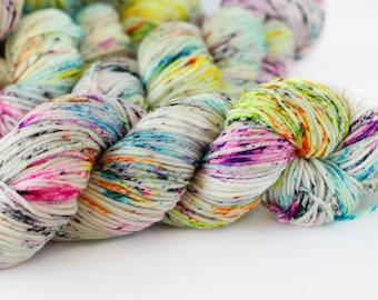 Ruckus 246 yards/ Posh DK Yarn/ superwash merino 4 ply speckle dyed