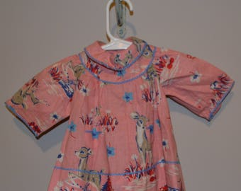 1940's Pink Baby Dress with Kitschy Deer