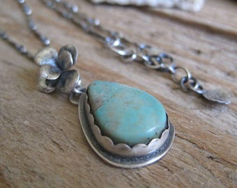 Turquoise Succulent Necklace, Botanical Necklace, Turquoise Pendant, Gift for Her, Gemstone Jewelry