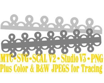 Border Eyelet Set #02 Embellishment Cut Files MTC SVG SCAL V2 and more File Format