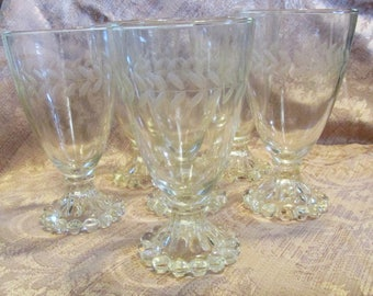 Depression Glass Boopie Glass Wine Glasses Set Of 6 Etched Wheat Pattern Mid Century Vintage Wedding Berwick Beaded Edge Candlewick