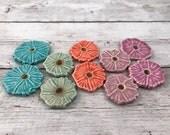 Ceramic Beads - One Pair - Hibiscus Flower Design - Earring Sized Pairs - Ready to Ship - Marsha Neal Studio - Handmade Beads