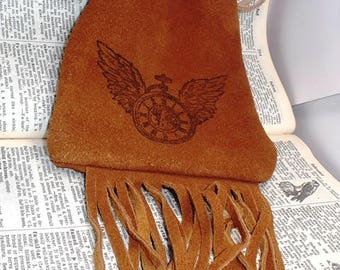 clockwork heart steampunk style print suede brown leather fringe pouch