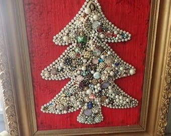 Large Vintage Jewelry Christmas Picture Ornate Framed Hangning Christmas Tree Christmas Wall Decoration