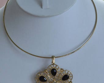 On sale Pretty Vintage Black, Gold tone Filigree Floral Pendant Necklace, Wire Collar