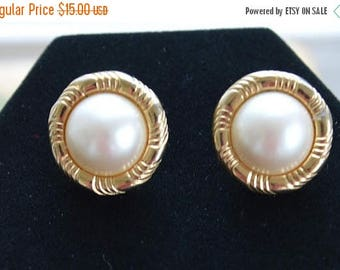 On sale Pretty Vintage Faux Pearl, Gold tone Button Pierced Earrings (R5)
