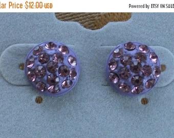On sale Pretty Vintage Amethyst Rhinestone Button Pierced Earrings, Small, Plastic (AD1)