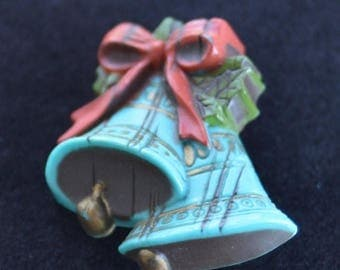 ON SALE Pretty Vintage Teal Blue, Red, Green Christmas Bell Brooch, Plastic (AK5)