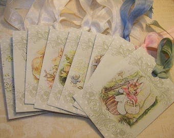 Baby Tags Peter Rabbit Tags Children's Tags Wish Tags - Vintage Style Set of 9