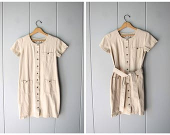 90s Minimal Dress Short Sleeve Safari Dress Button Down Up Vintage Natural Look Beige Sundress Casual Short Sleeve Mini Dress Womens XS 2