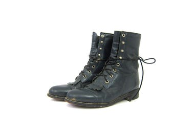 Lace Up Leather Justin ROPERS 80s Dark Blue Leather Fringe Boots Western Riding Boots Country Southwestern Ankle Boots Women's Size 8
