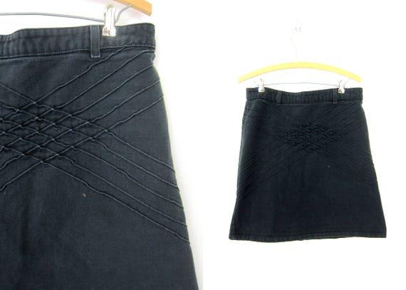 Basic Faded Black Jean Skirt Minimal Mini Skirt Modern High Waist Skirt Textured Denim Hipster Casual Skirt Women's Medium 32 inch waist