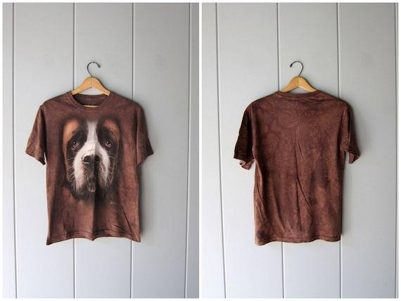 Vintage DOG Tshirt 90s St. Bernard Brown Pigment Dyed Tee Shirt Grunge Novelty Boho Hipster Animal Print Cotton Shirt Womens Small Medium