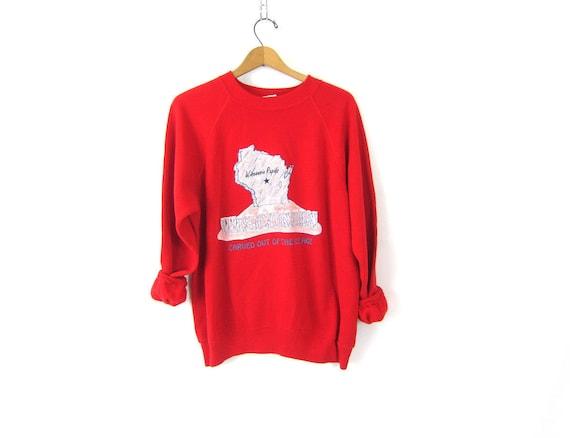1980s RED Wisconsin Rapids sweatshirt Baggy Raglan sweatshirt vintage souvenir Preppy crewneck pullover size XL Extra Large
